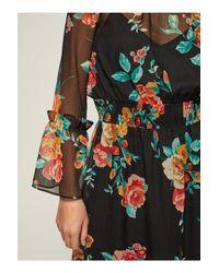 Miss Selfridge Multicolor Rose Print Midi Skater Dress