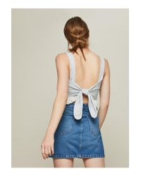 Miss Selfridge Blue Broderie Tie Back Crop Top