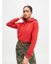 Miss Selfridge Red Crop Tie Hoodie