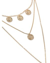 Miss Selfridge - Metallic Gold Mini Necklace - Lyst