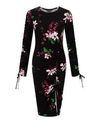 Miss Selfridge Black Floral Print Ruched Jersey Bodycon Dress