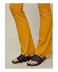 Miss Selfridge Yellow Rib Kick Flared Trousers