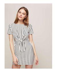 Miss Selfridge White Petite Striped Knot Front Bodycon Dress
