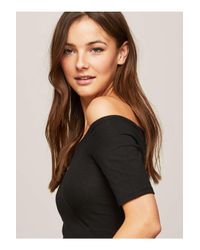 Miss Selfridge Black Short Sleeve Bardot Body