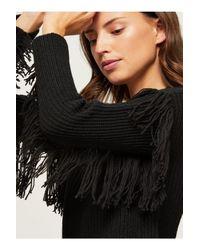 Miss Selfridge Black Petite Fringed Knitted Jumper