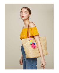 Miss Selfridge Natural Tassel Straw Tote Bag