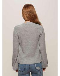 Miss Selfridge Gray Grey Balloon Sleeve Knitted Jumper