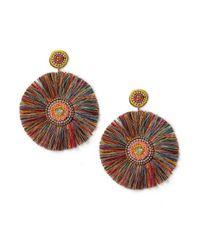 Miss Selfridge - Multicolor Circle Beaded Fan Earrings - Lyst
