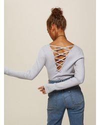 Miss Selfridge - Gray Grey Lattice Back Knitted Top - Lyst