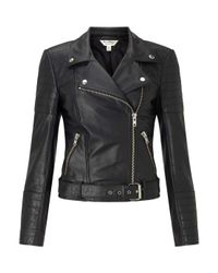 Miss Selfridge - Black Premium Leather Biker Jacket - Lyst