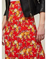 Miss Selfridge - Red Floral Button Midi Skirt - Lyst