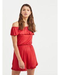 1391461e35c Miss Selfridge Rust Bardot Playsuit in Red - Lyst