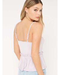 Miss Selfridge Black Petite Lace Trim Camisole Top