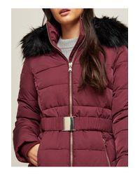 Miss Selfridge Red Burgundy Longline Belted Puffer Jacket
