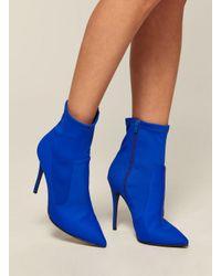 Miss Selfridge Blue Dayla Stretch Sock Boots