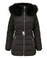 Miss Selfridge Black Longline Belted Puffer Jacket