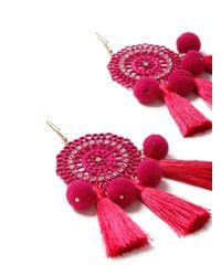 Miss Selfridge - Pink Mega Pom Tassel Earring - Lyst