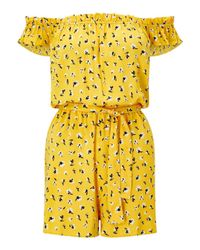 Miss Selfridge Yellow Ditsy Bardot Playsuit