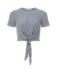 Miss Selfridge White Striped Tie Front T-shirt