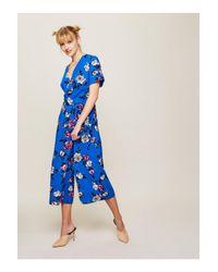 Miss Selfridge Blue Print Twist Jumpsuit