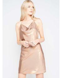 Miss Selfridge Blue Premium Gold Lame Cowl Slip Dress