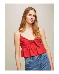 Miss Selfridge Red Tie Front Camisole Top