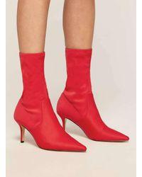 Miss Selfridge - Desire Red Sock Boots - Lyst