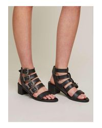 6de12c3bd9ef Lyst - Miss Selfridge Cadee Western Buckle Sandals in Black