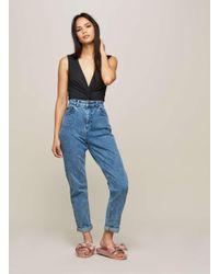 Miss Selfridge Blue Dark Acid Wash Mom Jeans