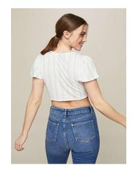Miss Selfridge Blue Striped Tie Crop Top