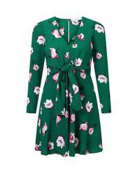 Miss Selfridge Green Petite Tie Front Printed Dress