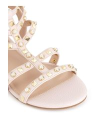 Miss Selfridge Natural Peace Pearl And Studded Gladiator Sandals
