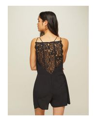 Miss Selfridge Black Lace Back Playsuit