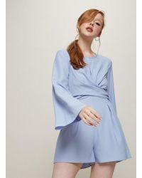 Miss Selfridge Blue Twist Front Playsuit