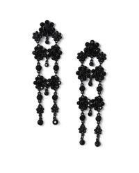 Miss Selfridge | Black Flower Drop Earring | Lyst