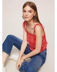Miss Selfridge Red Floral Print Plisse Camisole Top
