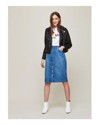 Miss Selfridge Blue Buttoned Midi Denim Skirt