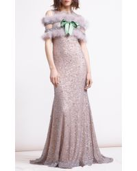 Reem Acra Metallic Sequin & Pearl Embroidered Mermaid Gown