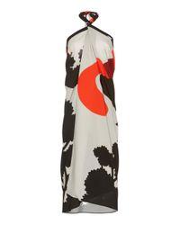 Martin Grant Multicolor Sunrise Print Halter Neck Dress