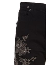 Redemption Black Embroidered High-rise Straight-leg Jeans