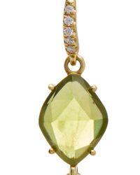Lauren K - Green 18k Yellow Gold Peridot And Aquamarine Earrings - Lyst