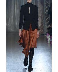 Palmer//Harding Brown Squared Midi Skirt