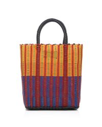 Truss - Yellow Small Tube Weave Tote With Detachable Beaded Fob - Lyst