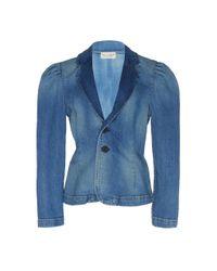 Nili Lotan Blue Rowen Puff-sleeve Denim Jacket