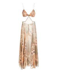 Alexis Multicolor Bardia Cutout Crepe Slip Dress
