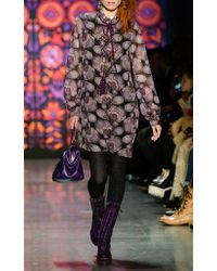 Anna Sui Purple Fan-tastic Iridescent Metallic Clip Jacquard Dress