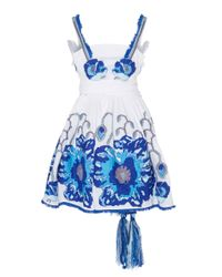 Yuliya Magdych Blue Poppies Mini Embroidered Sundress