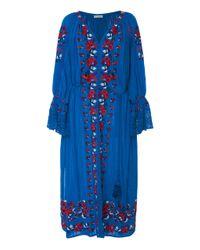 Ulla Johnson Blue Filia Embroidered Dress