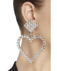 Alessandra Rich - White Crystal Heart Earrings - Lyst