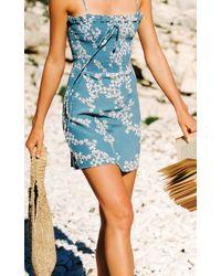 Faithfull The Brand Blue Marni Smocked Voile Mini Dress